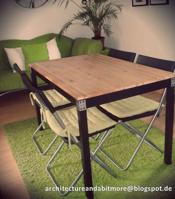 DIY industrial dining table (via ikeahackers)