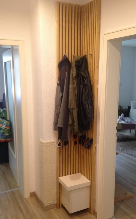 DIY headboard to clothes rack (via ikeahackers)
