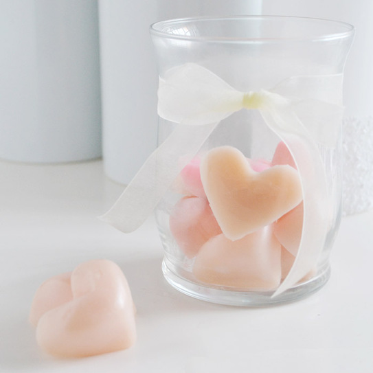 DIY heart-shaped lotion bars (via sparkandchemistry)