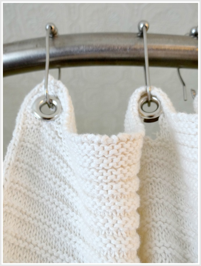 DIY blanket to shower curtain hack
