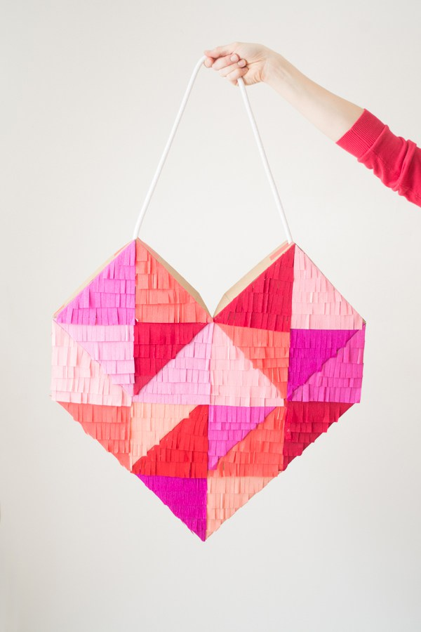 DIY Colorful Fringe-Filled Geometric Heart