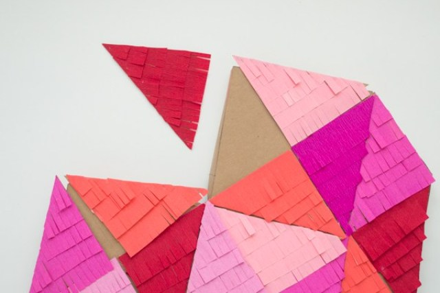 DIY Colorful Fringe Filled Geometric Heart