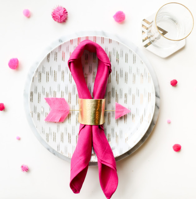 Picture Of diy gold and pink arrow napkin rings  1