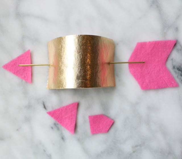 DIY Gold And Pink Arrow Napkin Rings