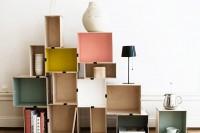DIY colorful bookshelves