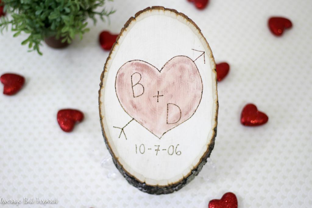 DIY Sentimental Carved Heart Wood Slice