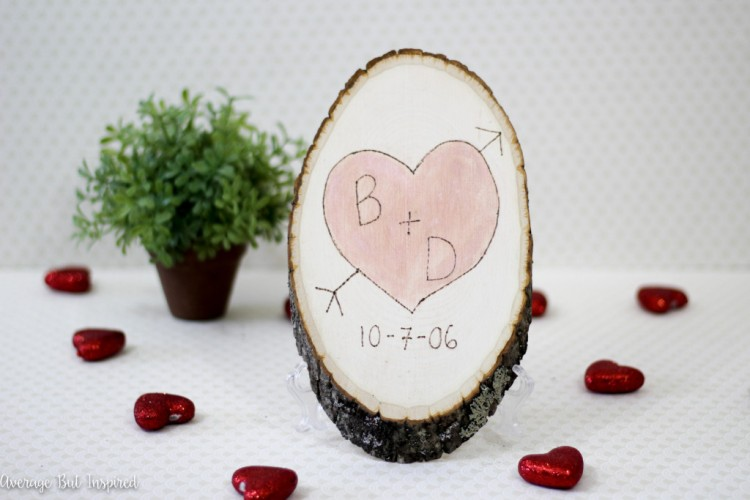 DIY Sentimental Carved Heart Wood Slice