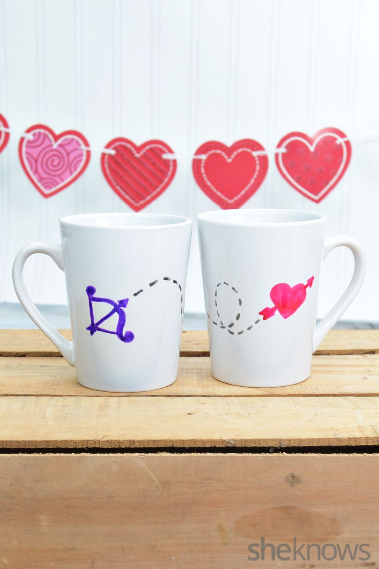 Valentine mugs (via sheknows)  sc 1 st  Shelterness & 11 DIY Tableware And Utensils Projects For Valentineu0027s Day - Shelterness