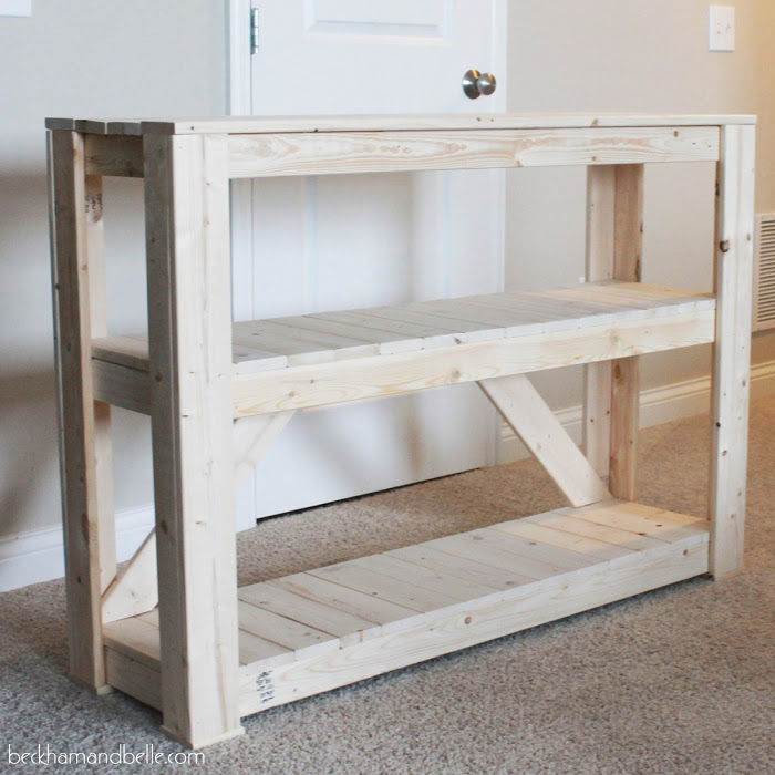 Picture Of diy wooden console entryway table  10