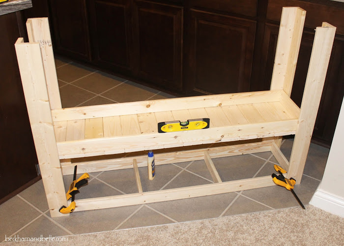 Picture Of diy wooden console entryway table  7
