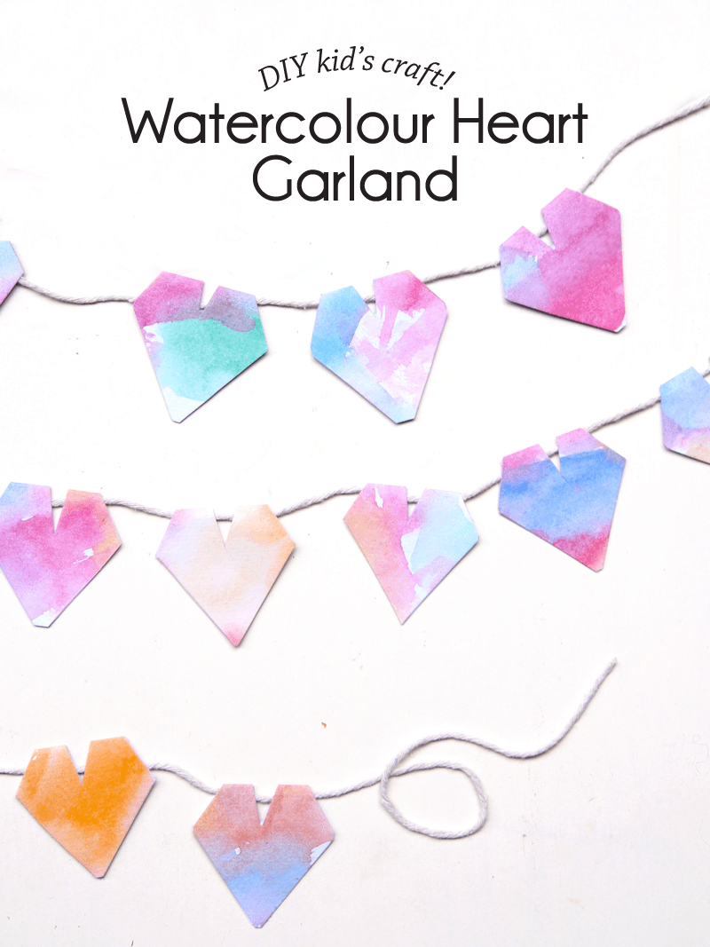 wtaercolor heart garland (via paperandpin)