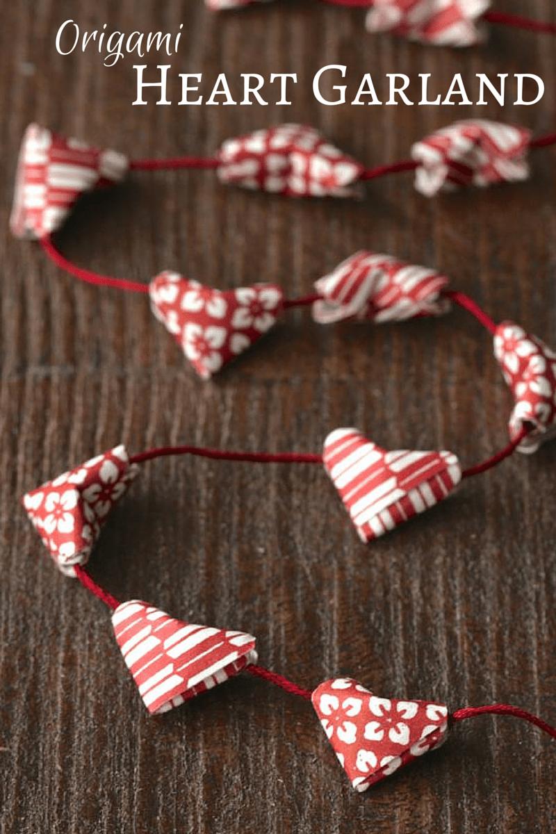 origami heart garland