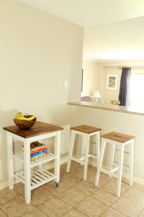 DIY Bosse stools and BEKVÄM kitchen cart hacks (via shelterness)