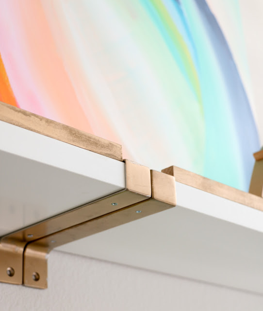 DIY gold and white shelves (via akailochiclife)