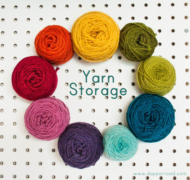 DIY pegboard yarn storage (via dappertoad)