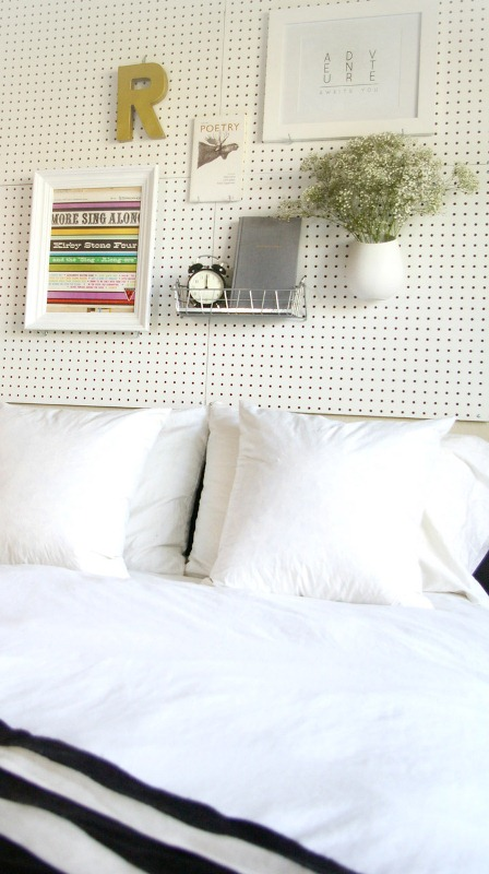 DIY pegboard headboard (via shelterness)