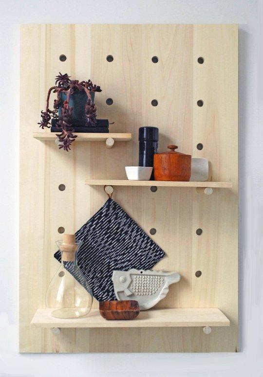 DIY pegboard shelving system (via apartmenttherapy)
