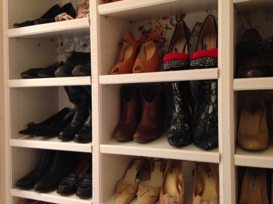DIY Billy shoe closet hack (via ikeahackers)