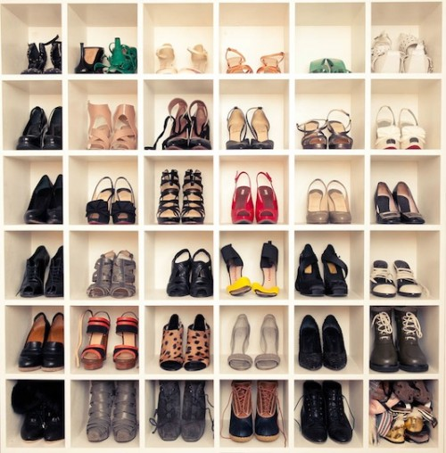 DIY shoe display wall (via shelterness)
