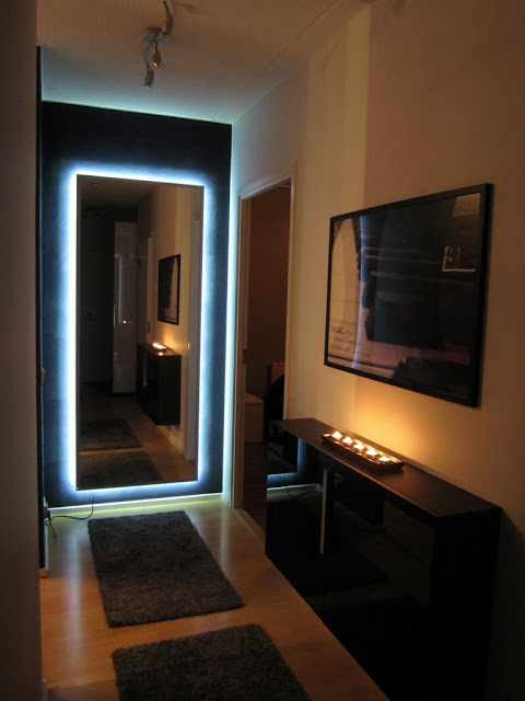 DIY Hovet mirror with lights (via ikeahackers)