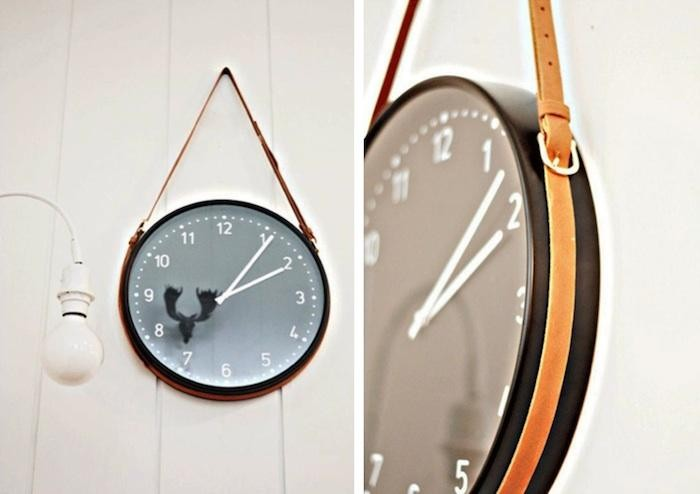 DIY leather hanger clock
