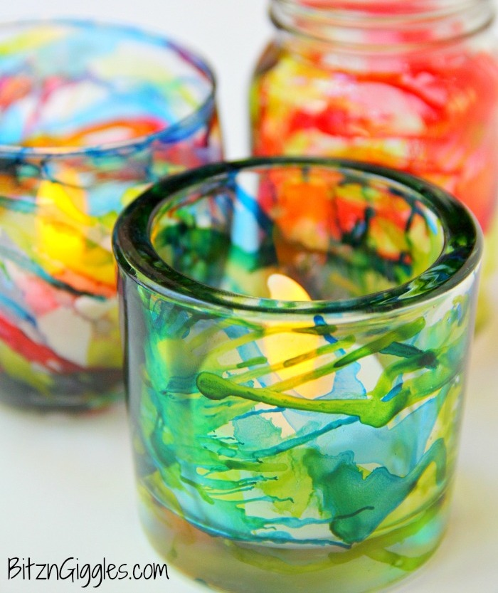 Colorful DIY Alcohol Ink Votives
