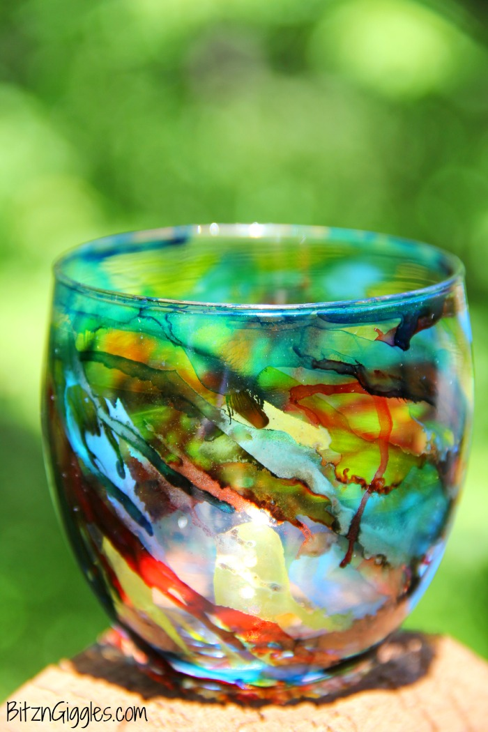 Picture Of colorful diy alcohol ink votives  3