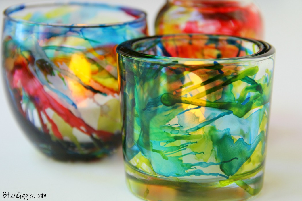 Picture Of colorful diy alcohol ink votives  6