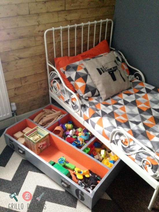 DIY bed drawer toy storage (via ikeahackers)