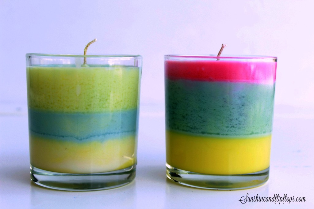 DIY colorful spring candles