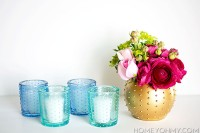 DIY pastel beaded candle holders