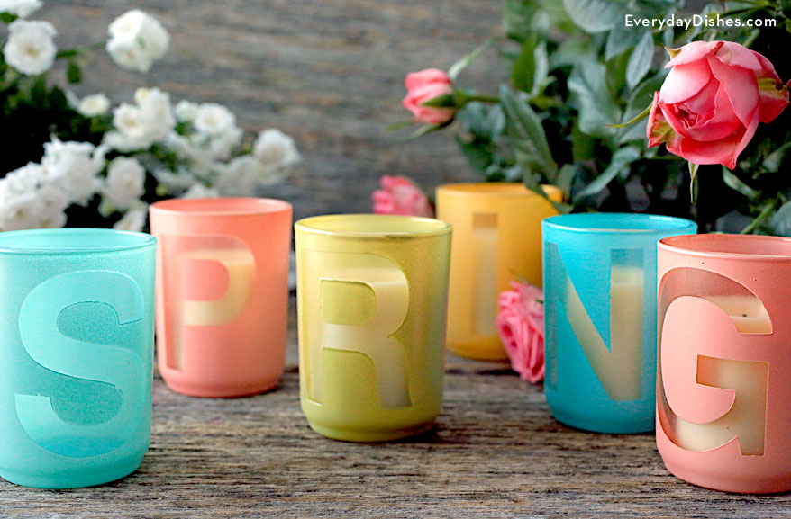 DIY SPRING stenciled votives
