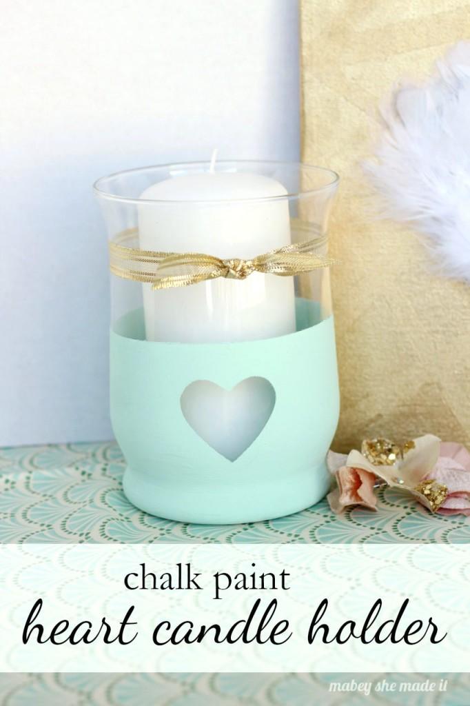 DIY mint heart candle holder (via mabeyshemadeit)