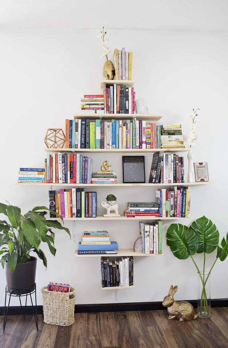 Picture Of creative diy diamond shaped bookshelves  3