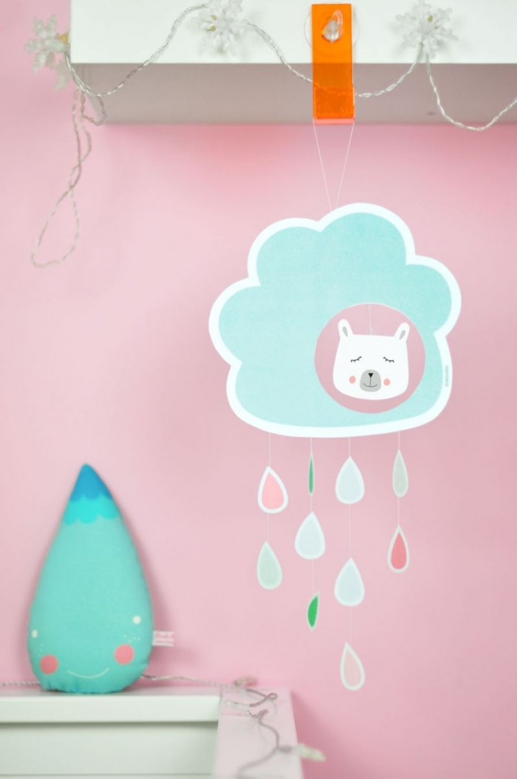 Cute DIY Cardstock Raindrop Mobile