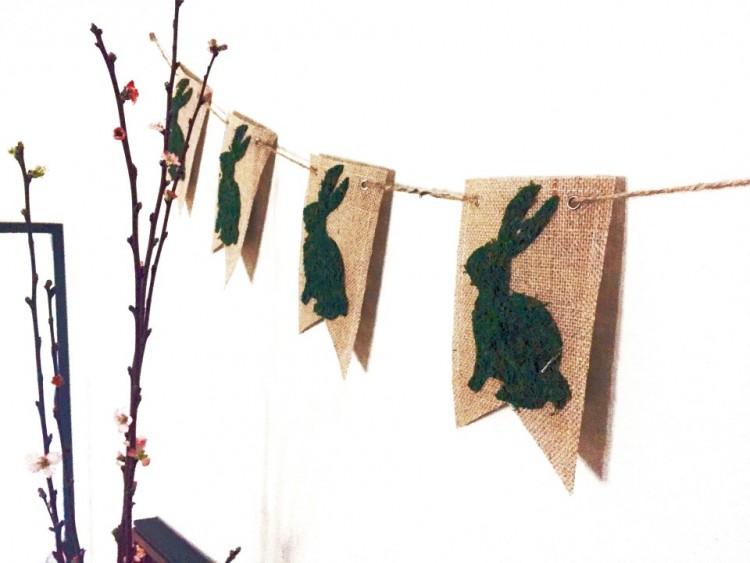 Cute DIY Moss Bunny Spring Banner