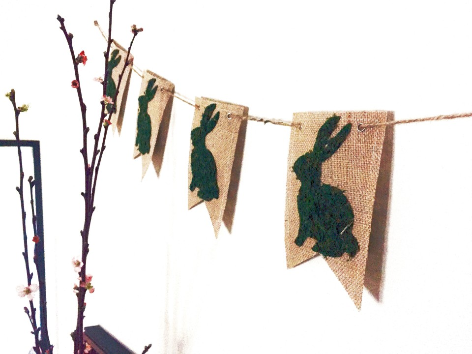 Picture Of cute diy moss bunny spring banner  6