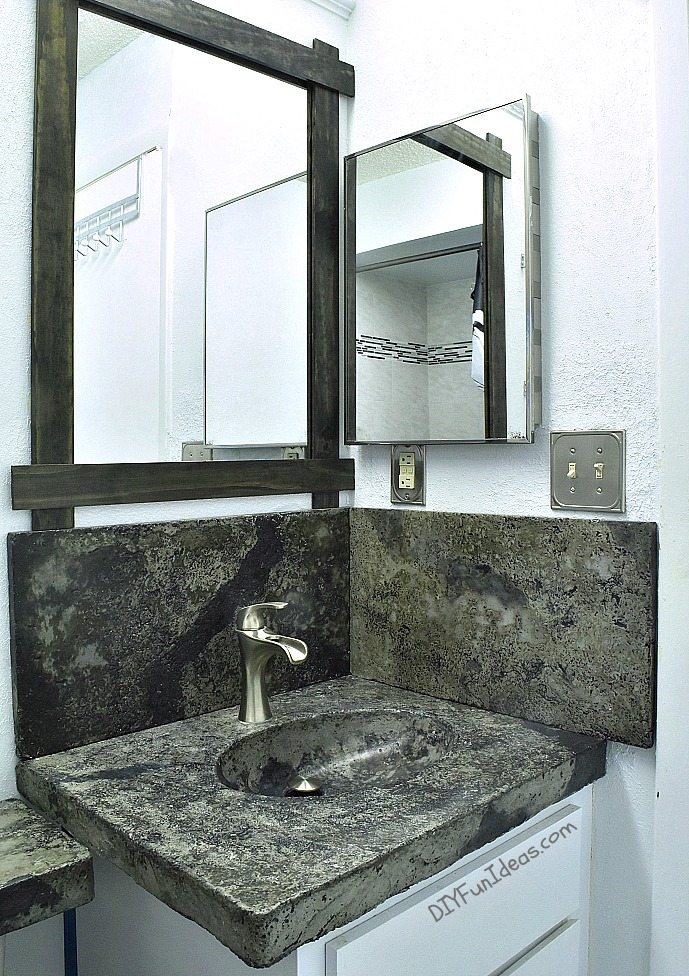 DIY Concrete Countertop With An Integral Sink