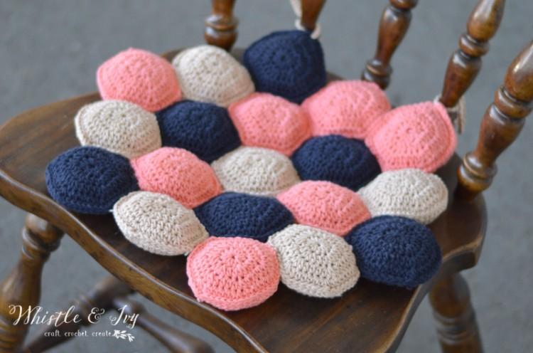 DIY Crocheted Hexie Puff Seat Cushion