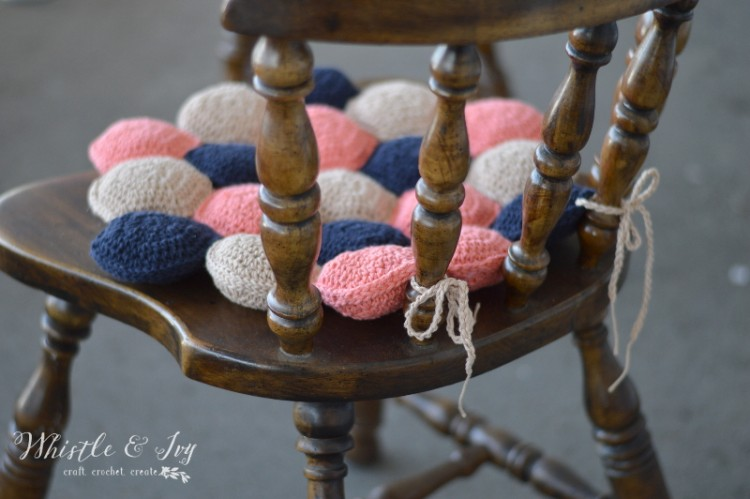 DIY Crocheted Hexie Puff Seat Cushion