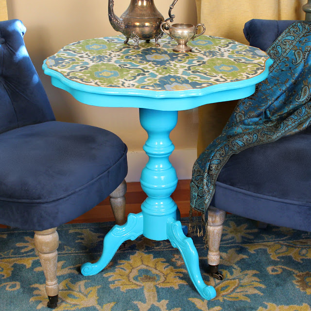 Picture Of diy decoupaged fabric table makeover  1