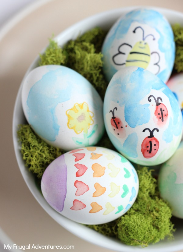 DIY watercolor Easter eggs (via myfrugaladventures)