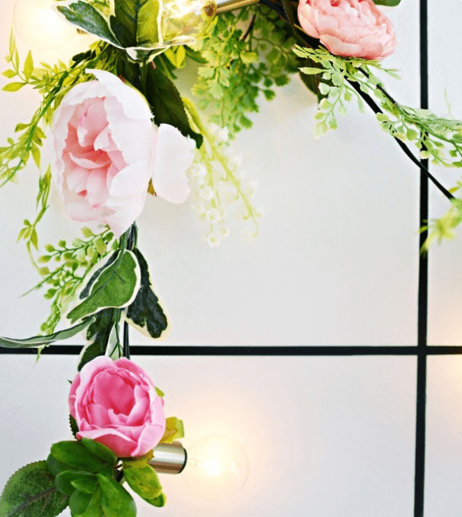 DIY Faux Flower And Lights Garland For Spring
