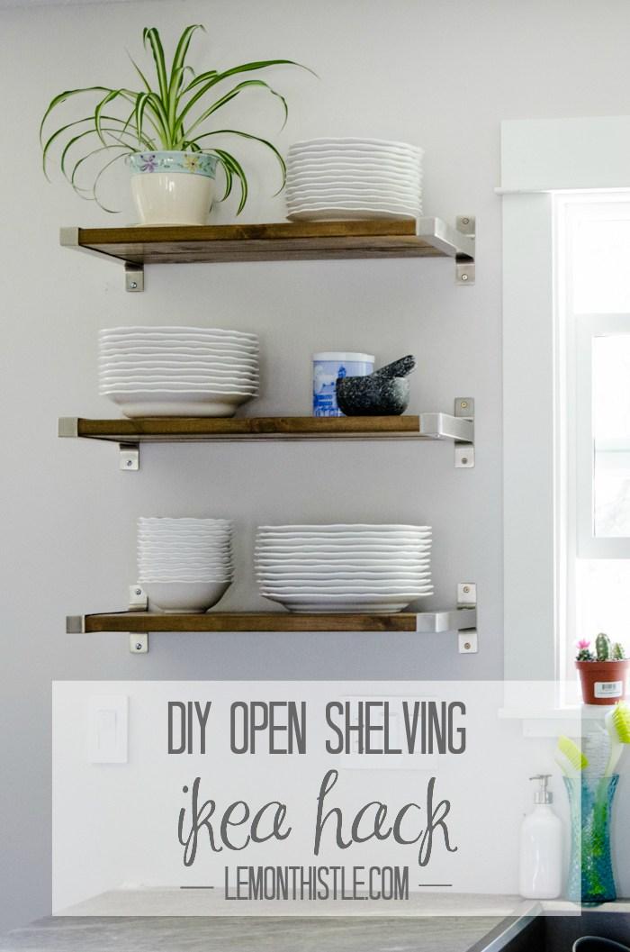 DIY open shelving (via lemonthistle)