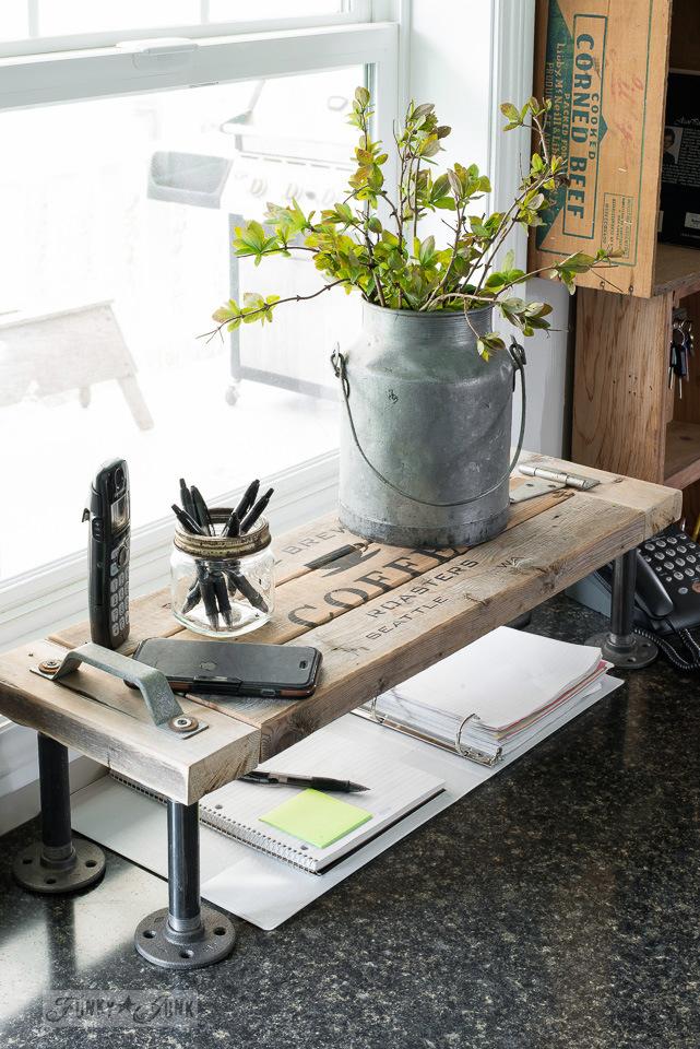 DIY Industrial Kitchen Phone Station Shelf