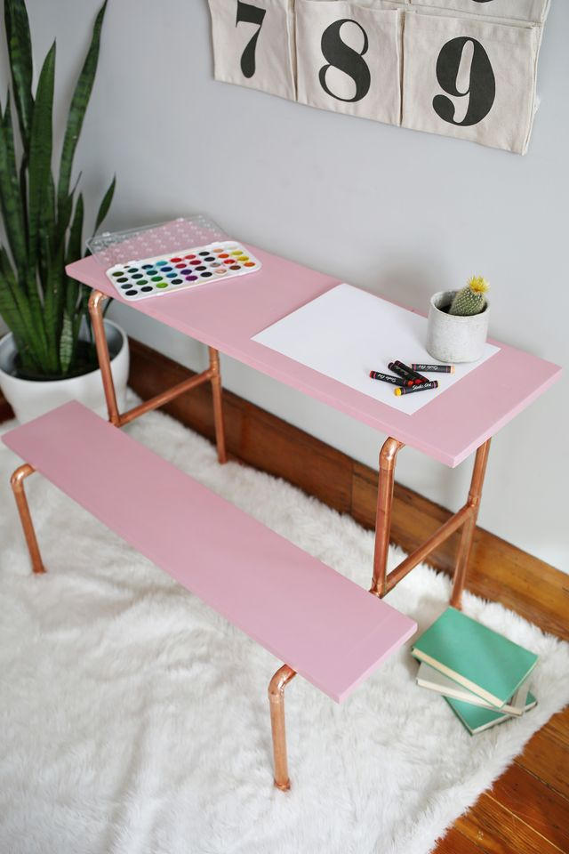 DIY copper pipe desk (via abeautifulmess)