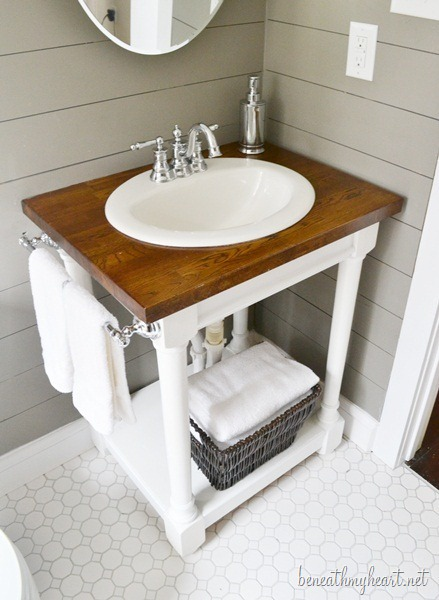 Diy Butcher Block Vanity Via Beneathmyheart