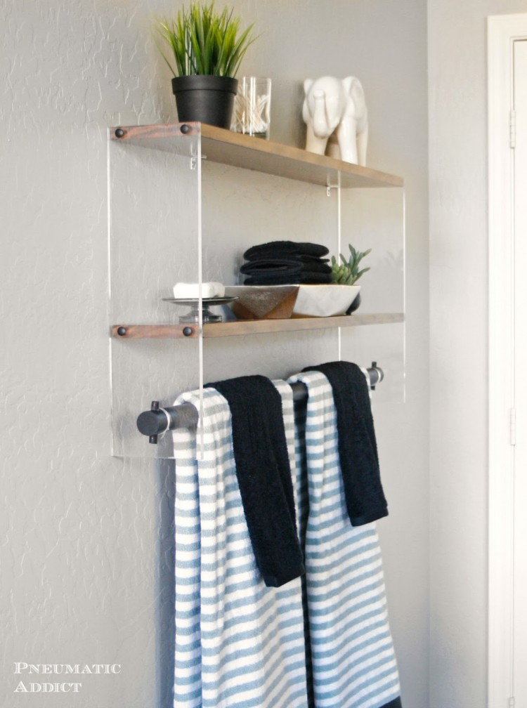 Diy wood and acrylic bathroom shelf shelterness for Wood bathroom wall decor
