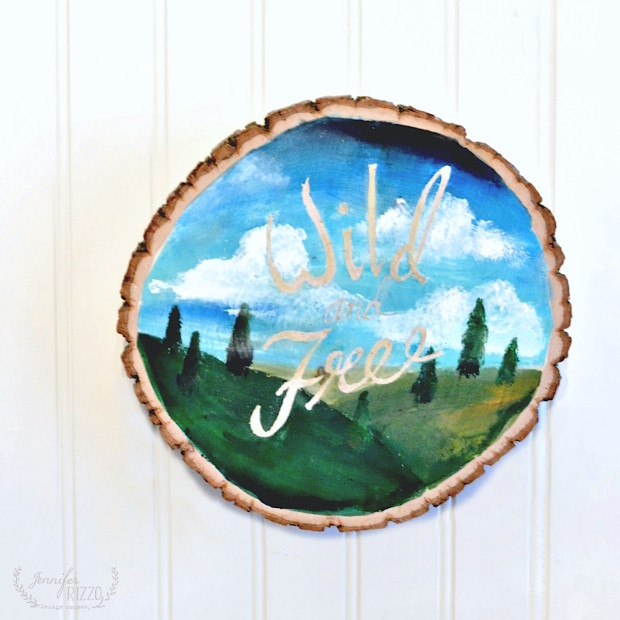 DIY Wood Slice Art Acrylic Painting