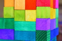 DIY rainbow wooden blocks